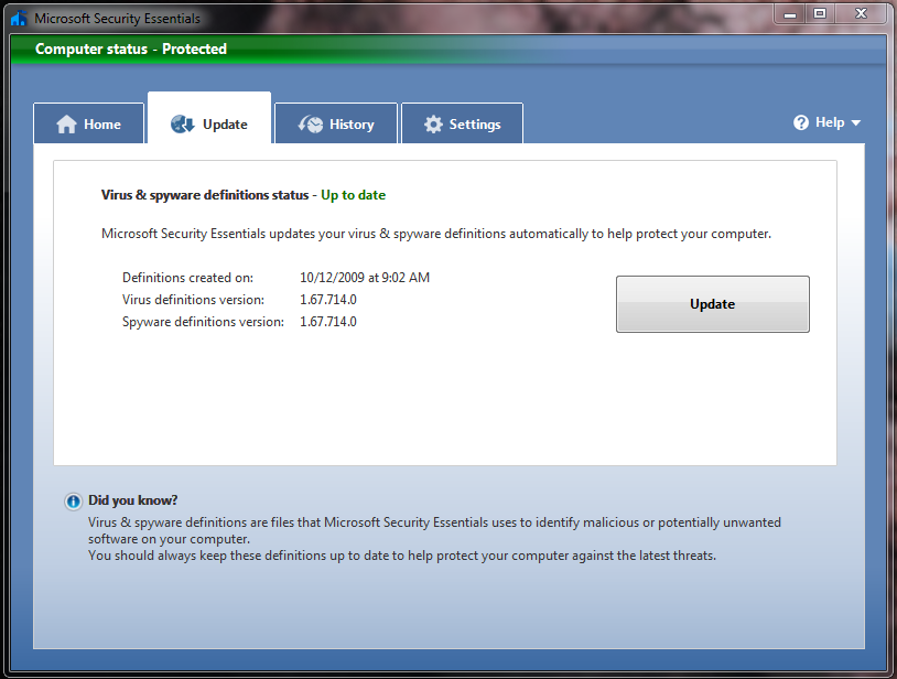 Microsoft Security Essentials - You can manually update, but the program defaults to automatically checking and installing updates.  This has changed recently, as I have not been asked in Windows Update to install updates anymore.  I usually get confirmation before allowing the updates to occur, but this is not something I would bicker about.