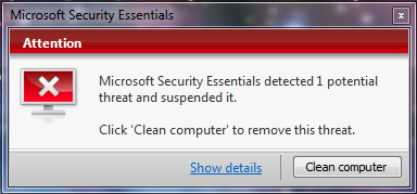 Microsoft Security Essentials - When MSE detects a problem, this notification appears in the lower right hand corner of the screen, just above the toolbar.  It will stay on top of all windows until you deal with the problem, or have the program set to auto-quarantine potential problems.