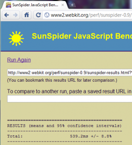 Chromium build 47601 sunspider