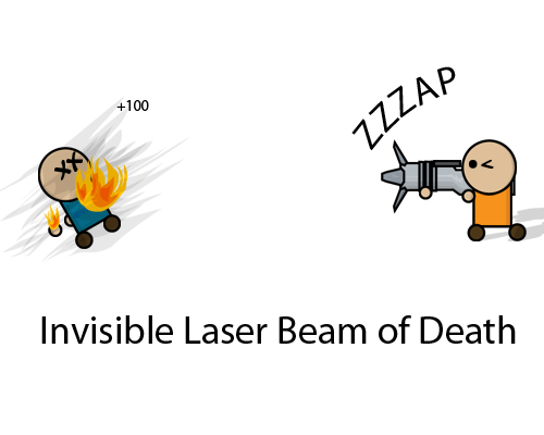 Invisible laser beam of death.