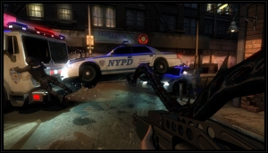 Jackie fights his way through numerous police.