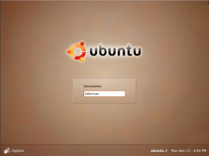 Login screen for Ubuntu 8.10