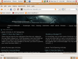 Showing Firefox with the RSBANDBInformer website