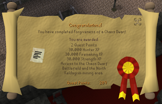 Forgiveness of a Chaos Dwarf Reward Scroll