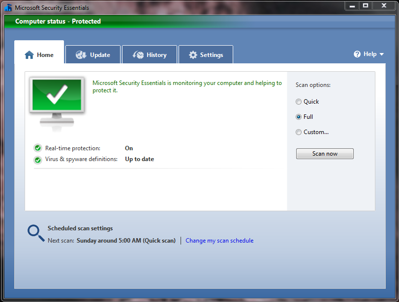 Home screen of Microsoft Security Essentials