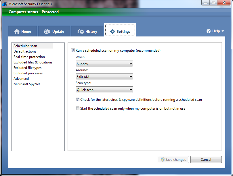 Microsoft Security Essentials - All of the settings available to the end user.