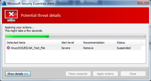 Microsoft Security Essentials - Once you have chosen an action, MSE will carry out your wishes.