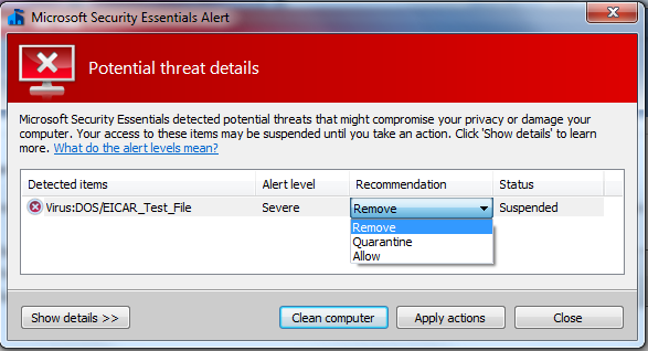 Microsoft Security Essentials - Once you have been warned, you have the option to either completely remove the file, quarantine the file, or allow the file.