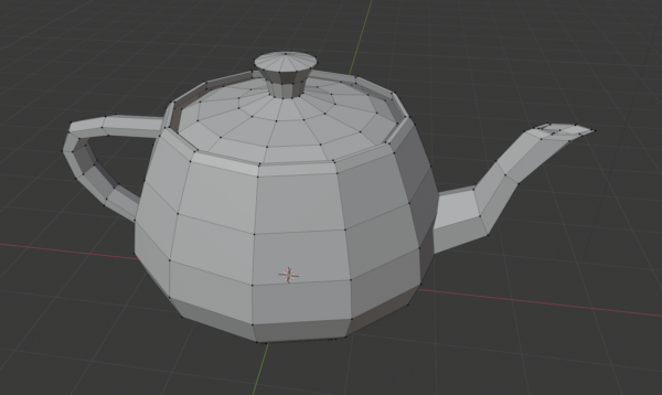 The Utah teapot with the vertex grid draw