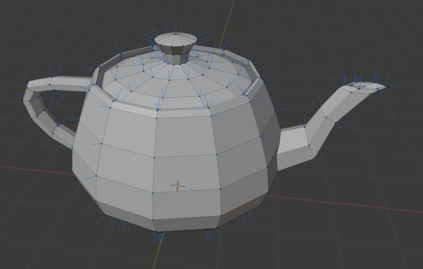 The Utah teapot with the normals drawn