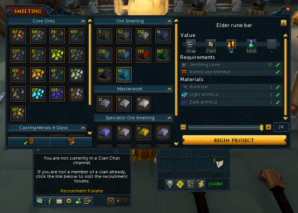 the smelt interface, clan interface, and inventory interface, before any changes