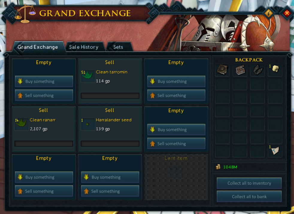 a reworked grand exchange interface, with consistent button styles