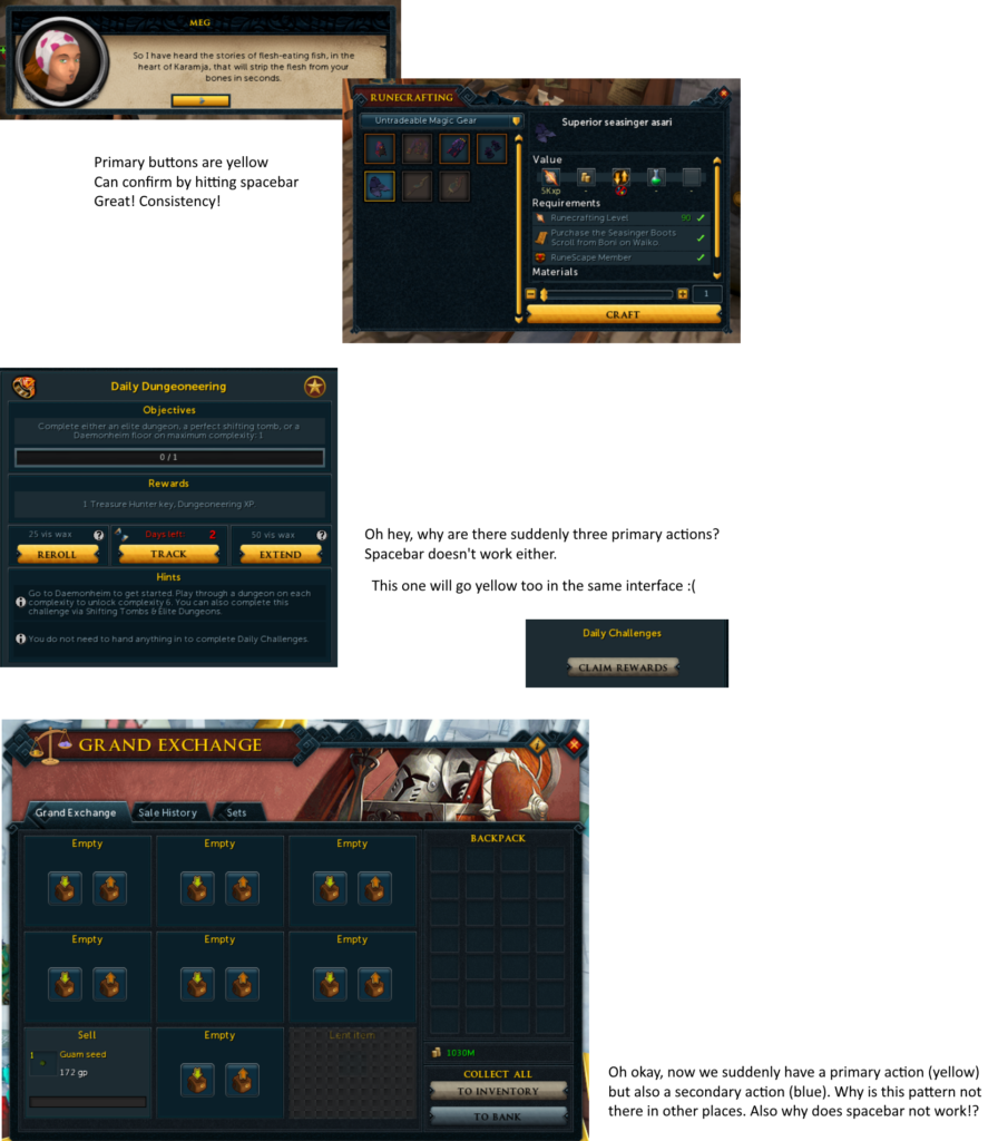 overview of problems in the RS UI style