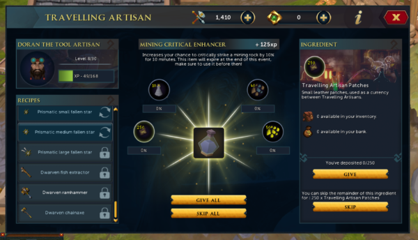 Mining Critical Chance Enhancer at Travelling Artisan Event