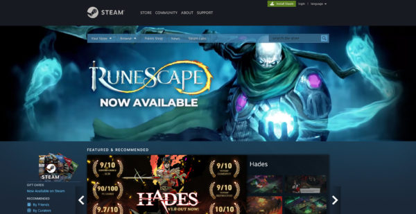 RuneScape Steam Store Front